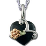 Black Hills Gold Black Onyx Cabochon Heart Sterling Silver Necklace