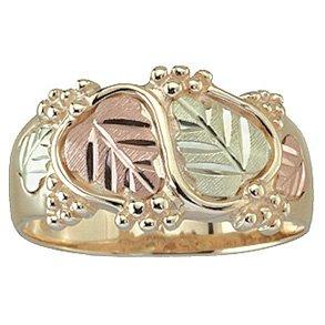 Black Hills Gold Ring Mens Wedding Band 4 Leaf