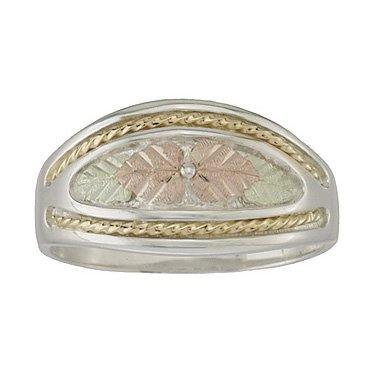 Black Hills Gold Ring Ladies Wedding Band Sterling Silver Unique