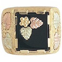Black Hills Gold Ring Mens Black Onyx & Leaf Inlay