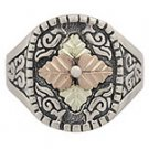 Black Hills Gold Ring Mens 4 Leaves On Oxidized Sterling Silver