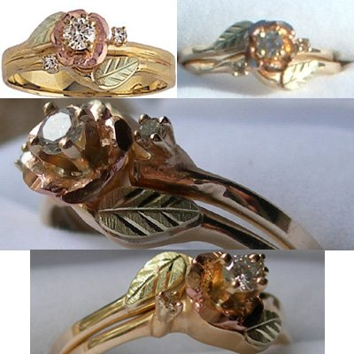 Black Hills Gold Ring Ladies Wedding Set Diamond .14 & Rose