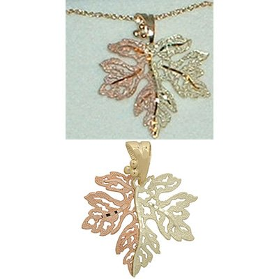 Black Hills Gold Necklace Single Large Leaf Solid Gold