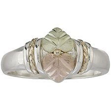 Black Hills Ring Ladies 2 Leaves Gold On Sterling Silver Unusually Pretty