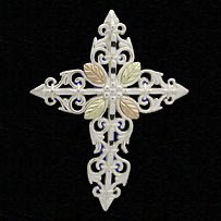 Black Hills Gold Necklace Scrolls Of Sterling Silver Cross