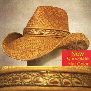 Shady Brady Raffia Straw Leather Simulated Crocodile Band Cowboy Hat Size Large