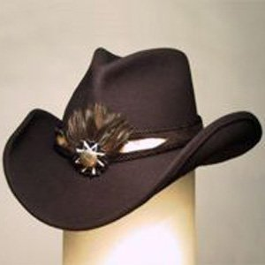 Shady Brady Cowboy Hat Genuine Tiger Snake Inlay Band Black Wool Felt Size Medium