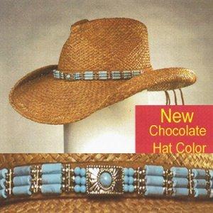 Shady Brady Cowboy Hat Raffia Straw Crushable Triple Tube Bead Band Small