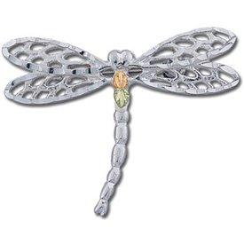 Black Hills Gold On Sterling Silver Dragonfly Brooch