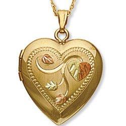 Black Hills Gold Solid Gold Leaves Etched Heart Locket