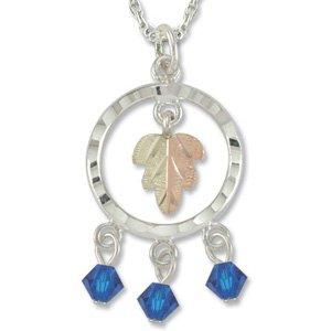 Black Hills Gold With Blue Swarovski Crystal Sterling Silver Necklace