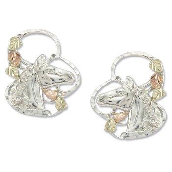 Black Hills Gold 5 Leaf Horse Sterling Silver Post Earrings