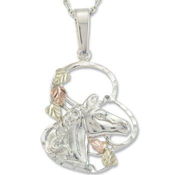 Black Hills Gold 5 Leaves Horse Sterling Silver Necklace