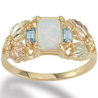 Black Hills Gold Genuine Blue Topaz Baguettes & Lab Created Opal Ladies Ring