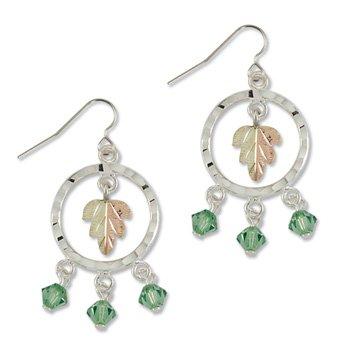 Black Hills Gold With Green Swarovski Crystal Sterling Silver Hook Earrings