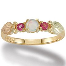 Black Hills Gold Genuine Pink Topaz & Lab Created Opal Ladies Ring