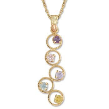 Black Hills Gold Eternal Circle Rainbow Cubic Zirconia Necklace