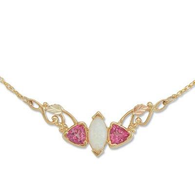 Black Hills Gold Pink Topaz Trillion Lab Created Opal Festoon Necklace