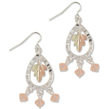 Black Hills Gold With Peach Swarovski Crystal Sterling Silver Earrings