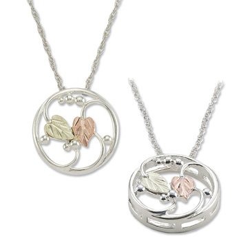 Black Hills Gold On Sterling Silver Circle Necklace