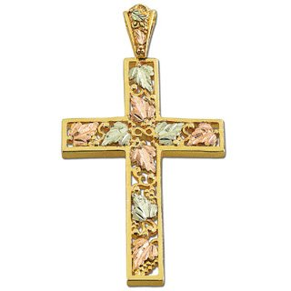 Black Hills Gold Leaves Infinity Vine Cross Necklace
