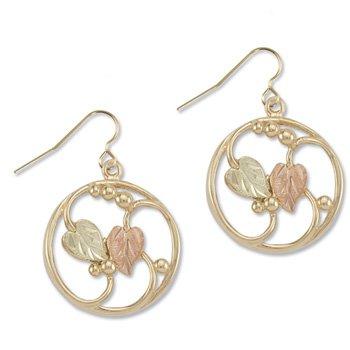 Black Hills Gold On 10K Yellow Gold Circle Earrings