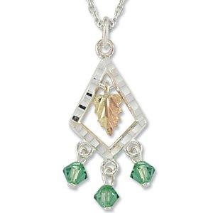 Black Hills Gold With Green Swarovski Crystals Sterling Silver Necklace