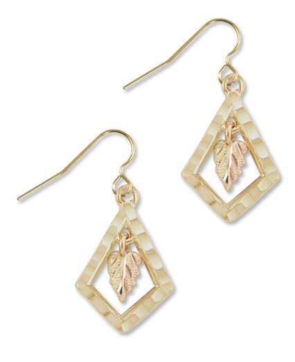 Black Hills Gold Leaf & Quadrangle Hook Earrings