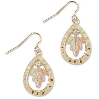 Black Hills Gold Leaf & Teardrop Hook Earrings