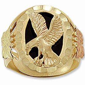 Black Hills Gold Leaves Grapes Onyx Eagle Mens Ring
