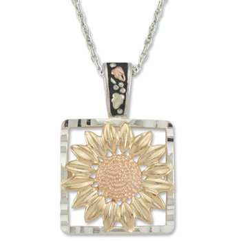Black Hills Gold Sunflower On Sterling Silver Pendant Necklace