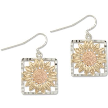Black Hills Gold Sunflower On Sterling Silver Hook Earrings