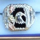 Black Hills Gold Onyx Eagle Men's Sterling Silver Ring
