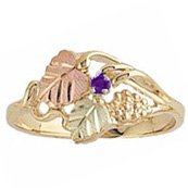 Black Hills Gold Ring Ladies Round Amethyst