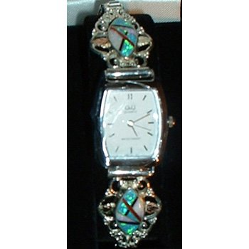 Black Hills Gold Watch Ladies Silver Coral Onyx Turquoise Mother Of Pearl Inlay