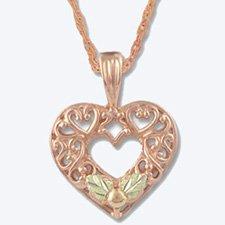 Black Hills Gold Pink Gold Heart Necklace