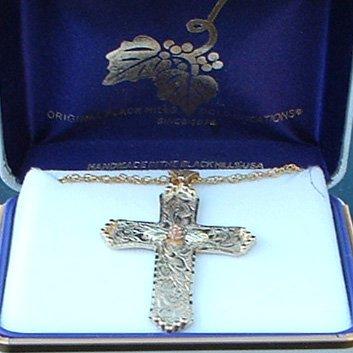 Black Hills Gold Cross Rose Center Etched Necklace