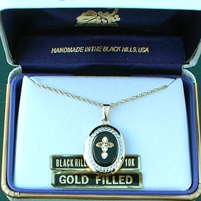 Black Hills Gold Cross Black Onyx Locket Necklace