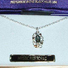 Black Hills Gold Mystic Fire Topaz Silver Necklace