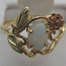Black Hills Gold Rose & Lab Created Opal Ladies Ring