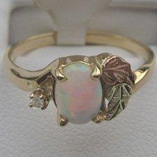 Black Hills Gold Diamond & Lab Created Opal Ladies Ring