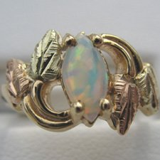 Black Hills Gold Marquise Lab Created Opal Ladies Ring