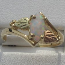 Black Hills Gold 7 X 4 mm Marquise Lab Created Opal Ladies Ring
