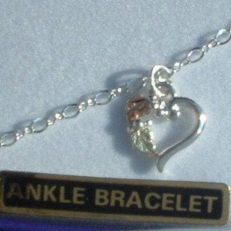 """Black Hills Gold On Sterling Silver Heart Chain 10"""" Anklet"""