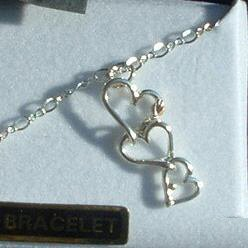 """Black Hills Gold 3 Silver Hearts Chain 10"""" Anklet"""