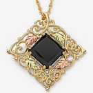 Black Hills Gold Necklace Black Onyx Square Gold Filigree