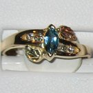 Black Hills Gold Diamonds & Blue Topaz Ladies Ring