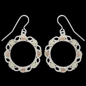 Black Hills Gold Earrings Sterling Silver Hoops Hook