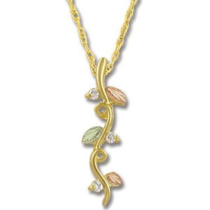 Black Hills Gold Vines Diamond Pendant / Necklace