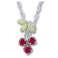 Black Hills Gold Bunch Of Cherries Silver Necklace